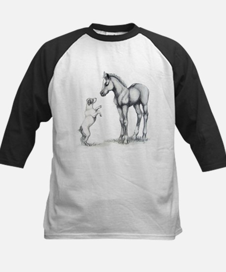 Jack russle terrier, and foal Kids Baseball Jersey