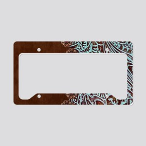 Western turquoise tooled leat License Plate Holder