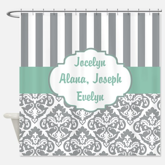 Mint and Gray Damask Stripes Custom Shower Curtain
