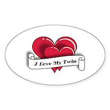 I Love My Twin - Oval Sticker