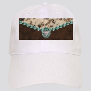 cow hide western leather Cap