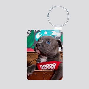 Sweet Blue-Eyed Pit Bull Puppy Girl in R Keychains