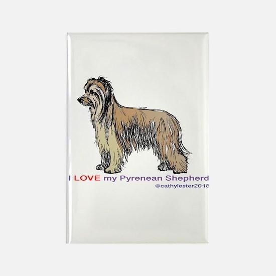 Pyrenean Shepherd Love Rectangle Magnet