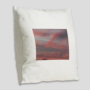 sunrise in san Jose with orang Burlap Throw Pillow