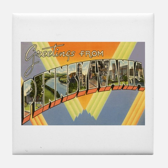 Greetings from Pennsylvania Tile Coaster