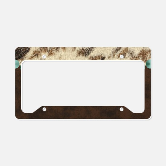 cow hide western leather License Plate Holder