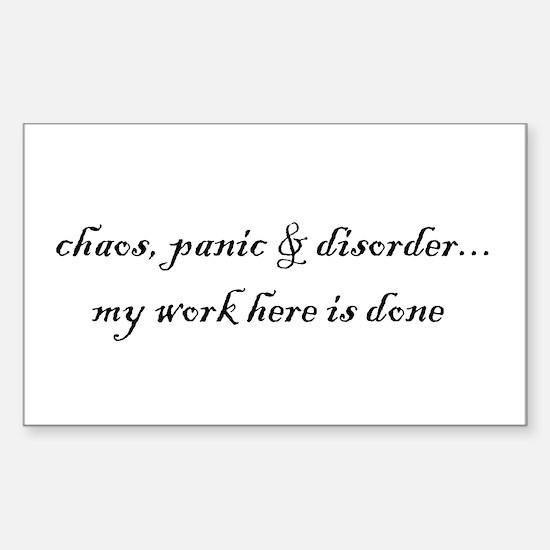 Chaos, panic & disorder Rectangle Decal