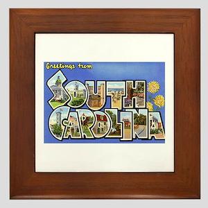 Greetings from South Carolina Framed Tile