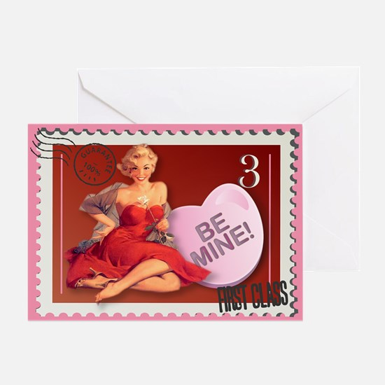 Be Mine! Pin Up Stamp Greeting Card