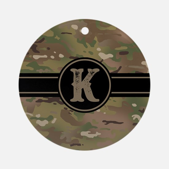Army Camouflage Monogram: Letter K Round Ornament