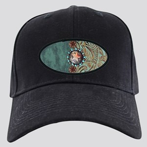 Country Western turquoise lea Black Cap with Patch