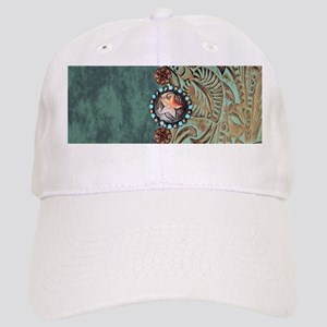 Country Western turquoise leather Cap