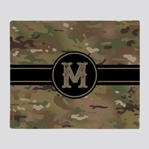 Army Camouflage Monogram: Letter M Throw Blanket