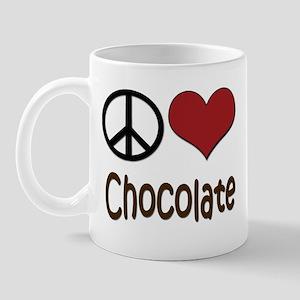Peace, Love and Chocolate Mug