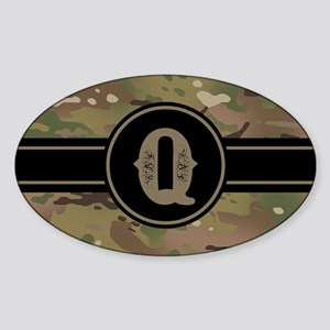 Army Camouflage Monogram: Letter Q Sticker (Oval)