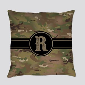 Army Camouflage Monogram: Letter R Everyday Pillow