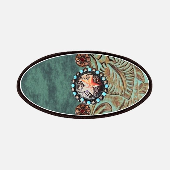 Country Western turquoise leather Patch