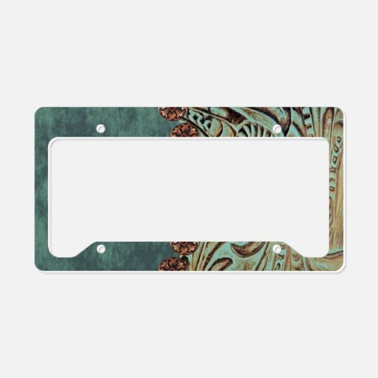 Country Western turquoise lea License Plate Holder