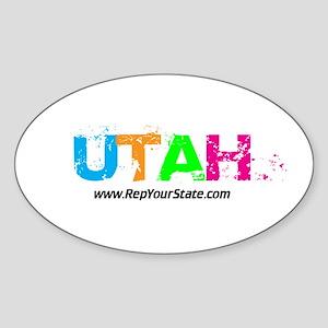 Colorful Utah Oval Sticker