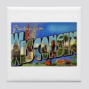 Greetings from Wisconsin Tile Coaster