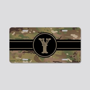 Army Camouflage Monogram: L Aluminum License Plate