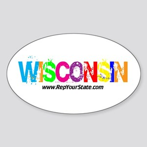 Colorful Wisconsin Oval Sticker