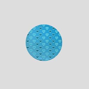 Blue Heart Pattern Mini Button