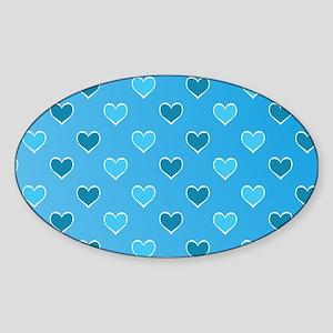 Blue Heart Pattern Oval Sticker