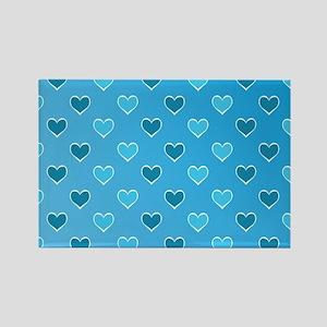 Blue Heart Pattern Rectangle Magnet