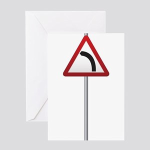 Bend Ahead Signpost Greeting Cards