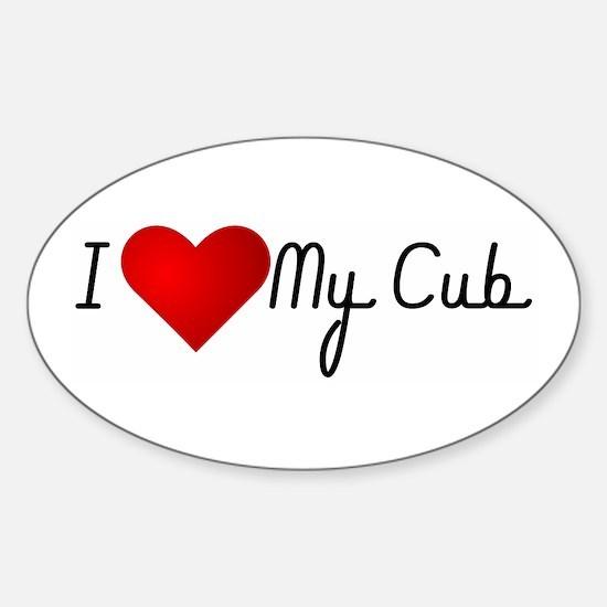 I Heart My Cub Oval Decal