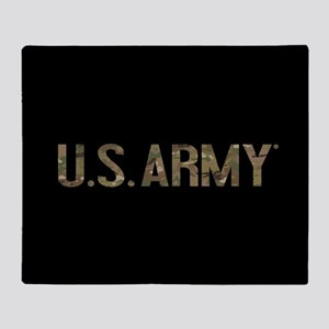 U.S. Army in Camouflage Throw Blanket