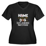 Home is wher Women's Plus Size V-Neck Dark T-Shirt