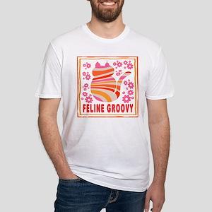 Feline Groovy (orange/pink) Fitted T-Shirt