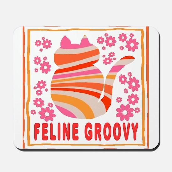 Feline Groovy (orange/pink) Mousepad