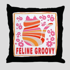 Feline Groovy (orange/pink) Throw Pillow