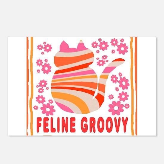 Feline Groovy (orange/pi Postcards (Package of 8)