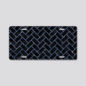 BRICK2 BLACK MARBLE & BLUE Aluminum License Plate