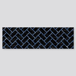 BRICK2 BLACK MARBLE & BLUE GLITTE Sticker (Bumper)