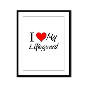 I Heart My Lifeguard Framed Panel Print