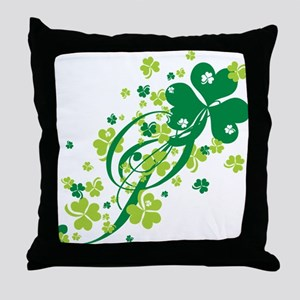 Shamrocks and Swirls Throw Pillow