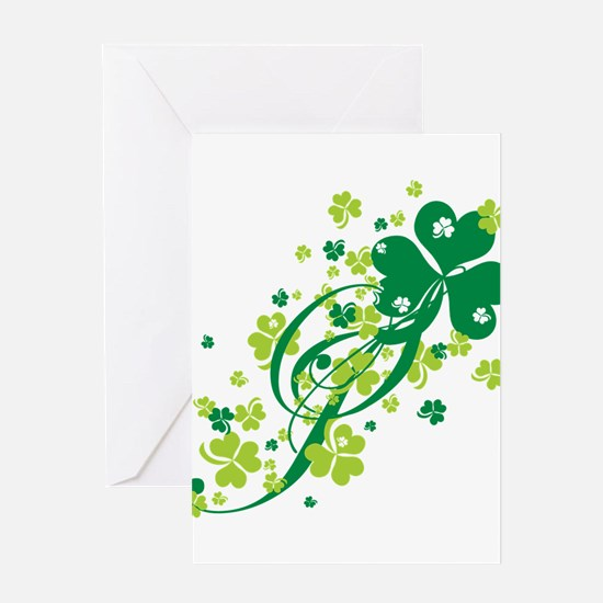 Shamrocks and Swirls Greeting Card