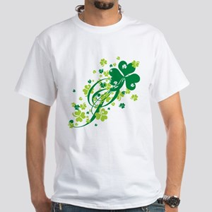 Shamrocks and Swirls White T-Shirt