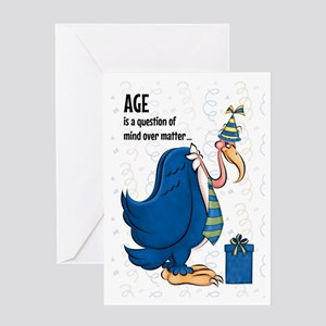 Funny Old Age Blue Buzzard Birthday Greeting Cards