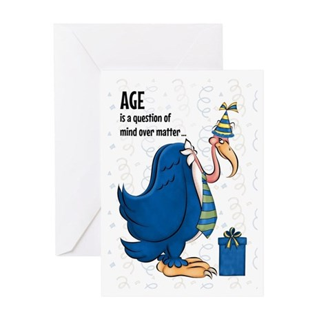 Funny Old Age Blue Buzzard Birthday Greeting Cards By Salonofart