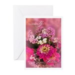 Pink Botanical Birthday Bouquet 20 Greeting Cards