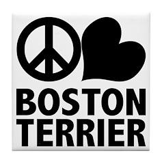 Peace Love Boston Terrier Tile Coaster