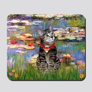 Tabby Tiger Cat in Lilies Mousepad