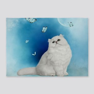 Wonderful white chinchilla cat 5'x7'Area Rug