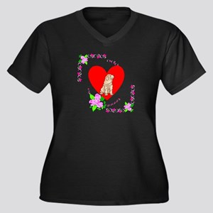 Shar Pei Love Women's Plus Size V-Neck Dark T-Shir